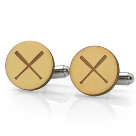 Baseball Engraved Wood Cufflinks Crossed Bats