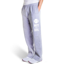 Softball Fleece Sweatpants - Hit Like A Girl (White)