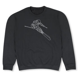 Skiing Crew Neck Sweatshirt - Skier Sketch