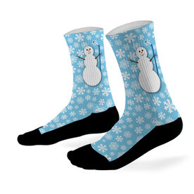 Hockey Printed Mid Calf Socks Hockey Snowman