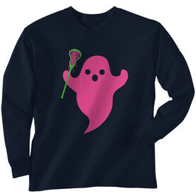 Girls Lacrosse Long Sleeve Tee - Pink Ghost with lacrosse Stick