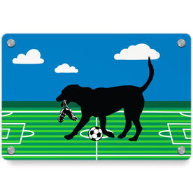 Soccer Metal Wall Art Panel - Sammy The Soccer Dog