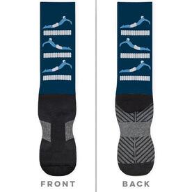Swimming Printed Mid-Calf Socks - Swim Meet Guy