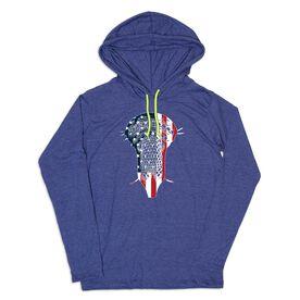 Guys Lacrosse Lightweight Hoodie - Patriotic Lacrosse Stick Head