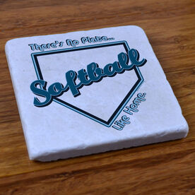 No Plate Like Home Softball - Stone Coaster