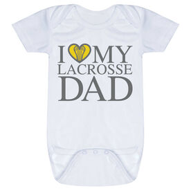 Girls Lacrosse Baby One-Piece - I Love My Lacrosse Dad