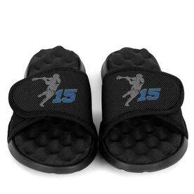 Guys Lacrosse PR SOLES® Adjustable Strap Recovery Slide Sandals - Lax Jumpshot with Number