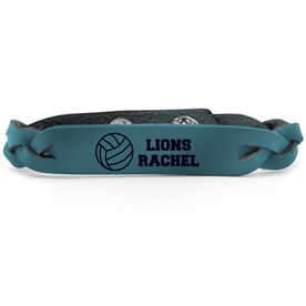 Volleyball Leather Engraved Bracelet Personalized
