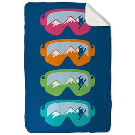 Snowboarding Sherpa Fleece Blanket - Multicolored Airborne