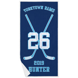 Hockey Premium Beach Towel - Personalized Team Crossed Sticks