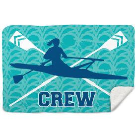 Crew Sherpa Fleece Blanket Crew With Crossed Oars And Girl Rower