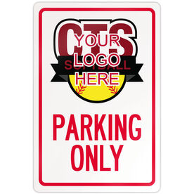 "Softball Aluminum Room Sign Custom Softball Logo Parking Only (18"" X 12"")"