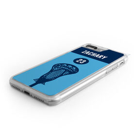 Guys Lacrosse iPhone® Case - Color Block Name and Number
