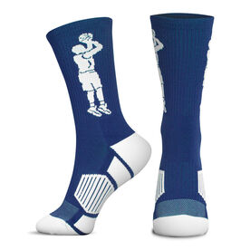 Basketball Woven Mid-Calf Socks - Player Jump Shot (Royal/White)