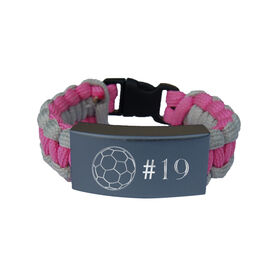 Soccer Paracord Engraved Bracelet - Soccer Ball with 1 Line/Pink