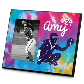 Softball Photo Frame Personalized Girl Softball Catcher with Tie Dye