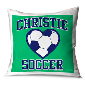 Soccer Throw Pillow Personalized Soccer Heart