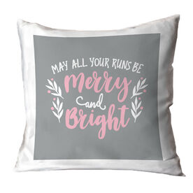 Running Throw Pillow - May All Your Runs Be Merry And Bright