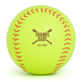 Personalized Engraved Softball - Thanks Dad