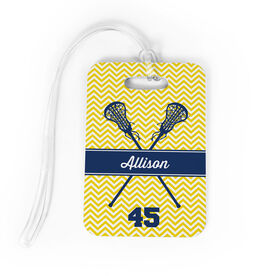 Girls Lacrosse Bag/Luggage Tag - Personalized Girl Lacrosse Sticks Chevron