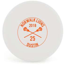Personalized Printed Lacrosse Ball Team Name With Crossed Sticks
