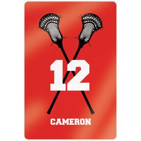 "Guys Lacrosse 18"" X 12"" Aluminum Room Sign - Personalized Crossed Sticks"