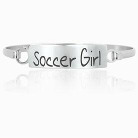 Soccer Engraved Clasp Bracelet Soccer Girl