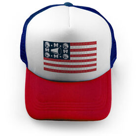 Cheerleading Trucker Hat - American Flag Words