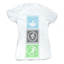 Vintage Triathlon T-Shirt - Swim Bike Run Blocks
