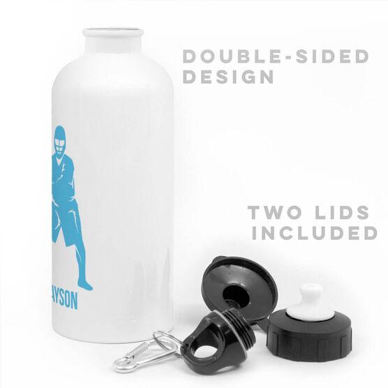 Guys Lacrosse 20 oz. Stainless Steel Water Bottle - Lacrosse Goalie Silhouette