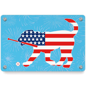 Baseball Metal Wall Art Panel - Patriotic Buddy The Baseball Dog