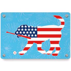 Baseball Metal Wall Art Panel - Patriotic Buddy The Baseball Dog