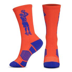 Basketball Woven Mid-Calf Socks - Player Jump Shot (Orange/Blue)