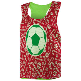 Soccer Racerback Pinnie - Candy Canes with Soccer Ball