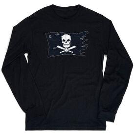 Baseball T-Shirt Long Sleeve - Baseball Pirate Flag