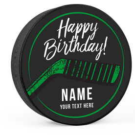 Personalized Happy Birthday with Stick Hockey Puck