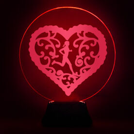 Running Acrylic LED Lamp Filigree Heart