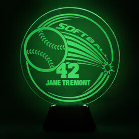Softball Acrylic LED Lamp Home Run With 1 Line and Number