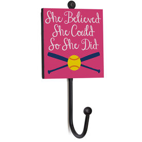 Softball Medal Hook - She Believed She Could So She Did