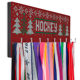 Hockey Hooked on Medals Hanger - Christmas Knit