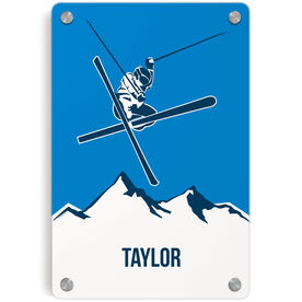 Skiing Metal Wall Art Panel - Personalized Airborne