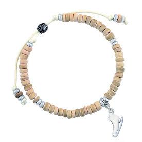 Natural SportBEAD Adjustable Bracelet - Enamel Skate Charm