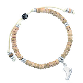 Natural SportBEAD Adjustable Bracelet - Enamel Skate Charm