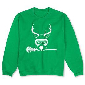 Girls Lacrosse Crew Neck Sweatshirt - Lax Girl Reindeer (Special Edition)