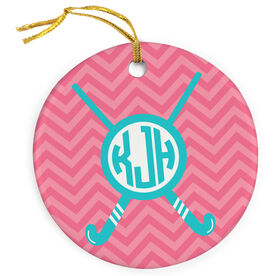 Field Hockey Porcelain Ornament Monogram With Crossed Sticks