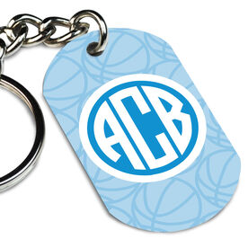 Basketball Printed Dog Tag Keychain Monogrammed Initials Basketball Pattern