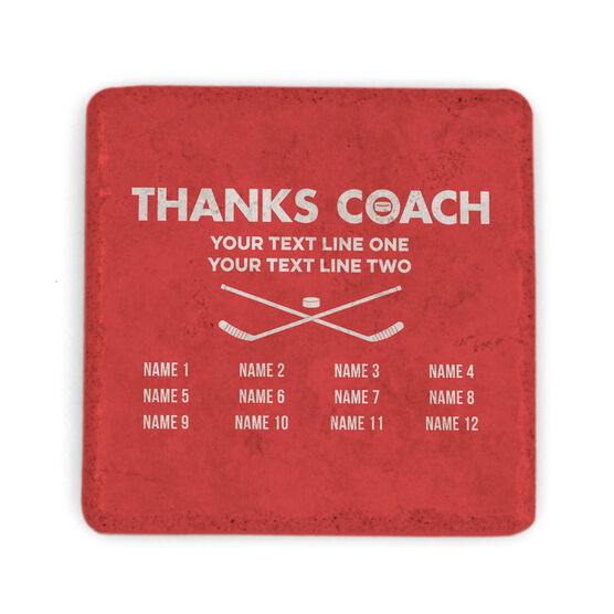 Hockey Stone Coaster - Thanks Coach Roster