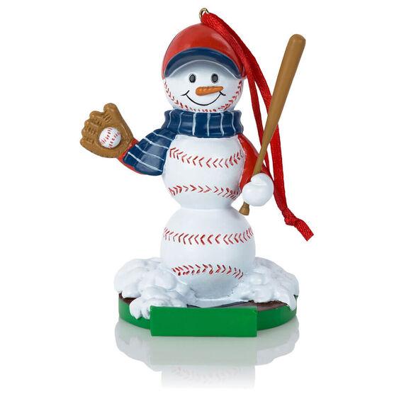 Baseball Ornament - Baseball Snowman