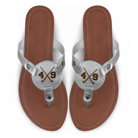 Field Hockey Engraved Thong Sandal Crossed Sticks with Your Number