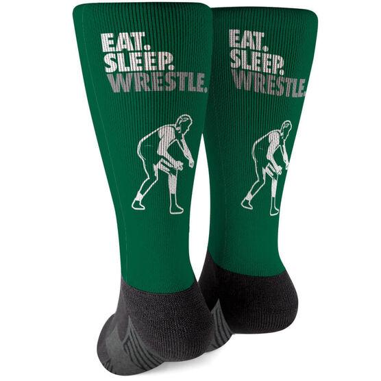 Wrestling Printed Mid-Calf Socks - Eat Sleep Wrestle